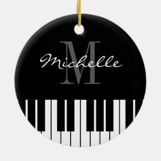 Le piano verrouille l'ornement d'arbre de Noël Ornement Rond En Céramique