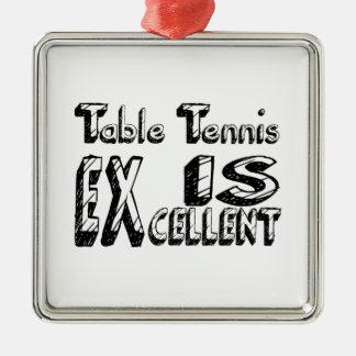Le ping-pong est excellent ornement carré argenté