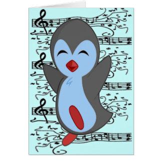 Le pingouin heureux le plus mignon dansant aux not carte de vœux