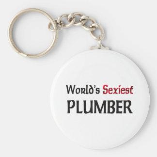 Le plombier le plus sexy du monde porte-clé rond