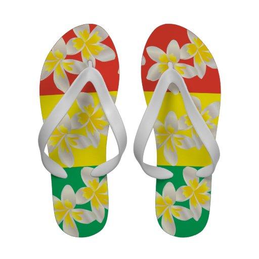 Le Plumeria de reggae d'Hawaï fleurit des bascules Chaussures De Plage