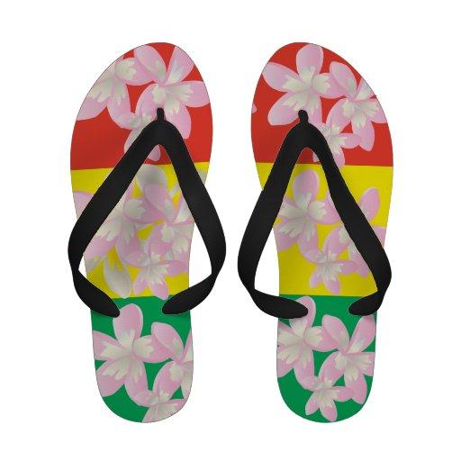 Le Plumeria de reggae d'Hawaï fleurit des bascules Flip Flops