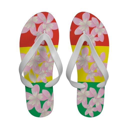Le Plumeria de reggae d'Hawaï fleurit des bascules Chaussures D'été
