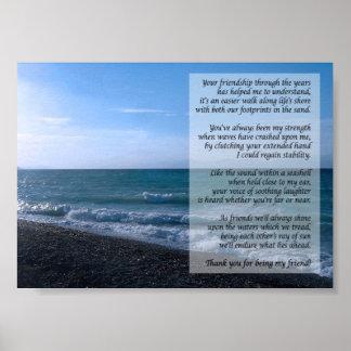 Le plus cher poème d'ami par l'affiche de mer poster