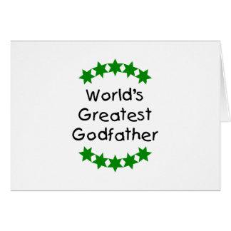Le plus grand parrain du monde (étoiles de vert) carte de vœux