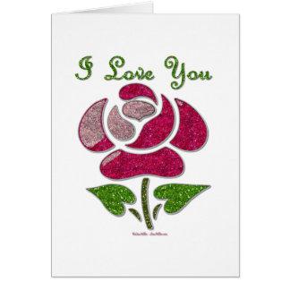 Le pochoir rose s'est levé je t'aime carte de vœux