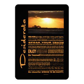 Le poème de desiderata ondule au coucher du soleil carton d'invitation  12,7 cm x 17,78 cm