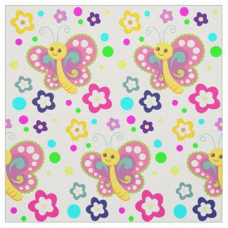 Le point de polka mignon de fleurs de papillon tissu