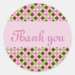 Le point de polka rose vous remercient des joints sticker rond