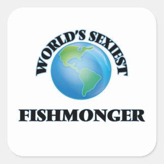 Le poissonnier le plus sexy du monde autocollants carrés