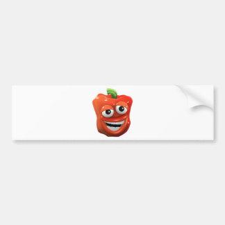 le poivron 3d rouge rit avec joie autocollant pour voiture