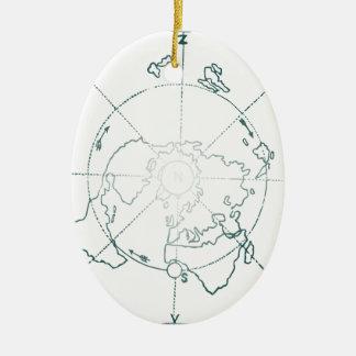Le Pôle Nord blanc EA tracent Ornement Ovale En Céramique