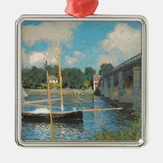 Le pont à Argenteuil - Claude Monet Ornement Carré Argenté