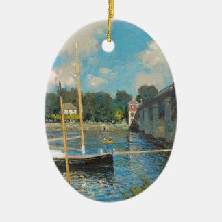 Le pont à Argenteuil - Claude Monet Ornement Ovale En Céramique