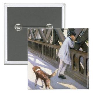 Le Pont de L'Europe : détail d'un homme et d'un a  Pin's Avec Agrafe