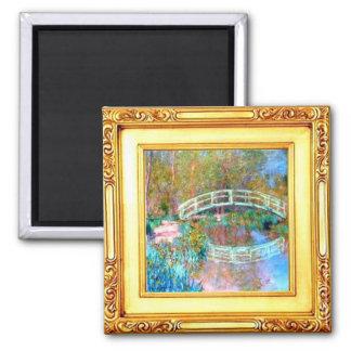 Le pont japonais par l'aimant de Claude Monet Magnet Carré