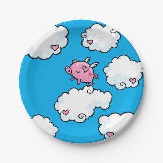 Le porc de vol danse du plat de nuages assiettes en papier