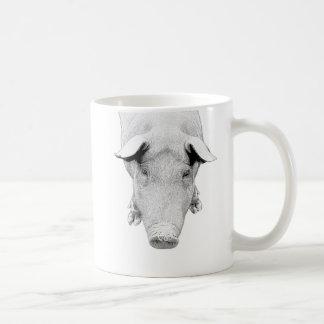 Le porc en noir et blanc mug blanc