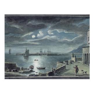 Le port et le Cobb, Lyme REGIS par clair de lune Carte Postale