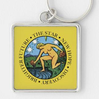 Le porte - clé d'étoile avec le texte porte-clé carré argenté