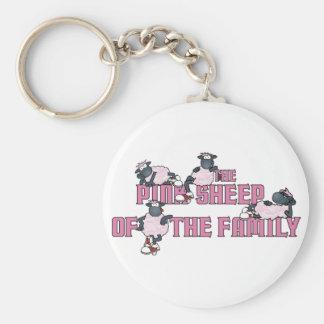 Le porte - clé rose de moutons porte-clé rond