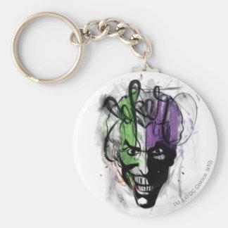 Le portrait au néon d'aerographe de joker porte-clé rond