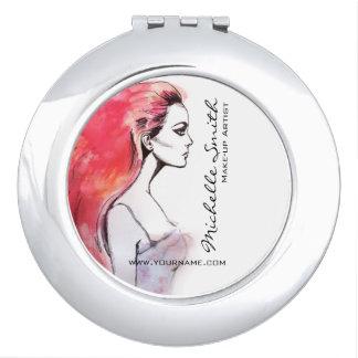 Le portrait de femme d'aquarelle composent le miroirs compacts