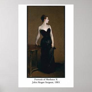 Le portrait de John Singer Sargent de Madame X Affiche