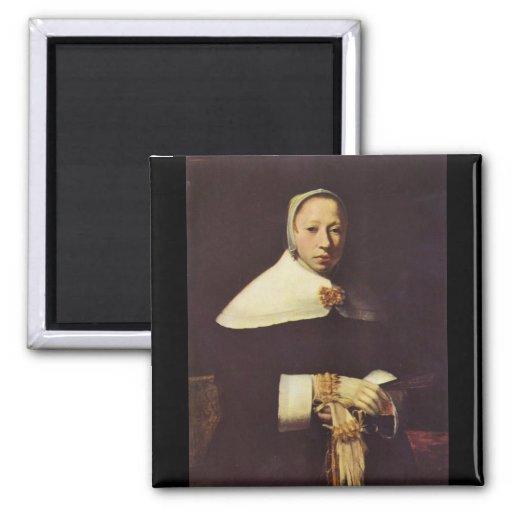 Le portrait des femmes par Johannes Vermeer Magnets Pour Réfrigérateur