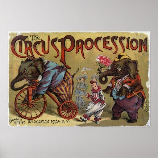 Le poster vintage de cortège de cirque