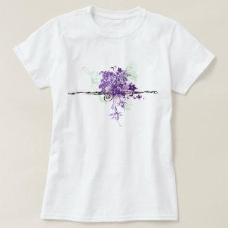 Le pourpre abstrait fleurit le bouquet floral t-shirt