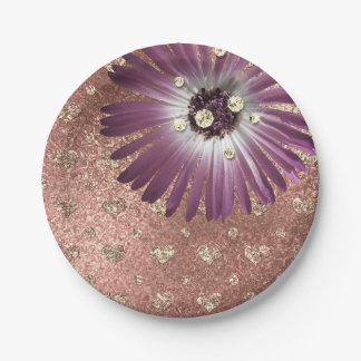 Le pourpre de fleur rougissent verre rose de assiettes en papier