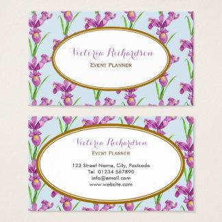 Le pourpre fait sur commande irise l'ovale floral cartes de visite