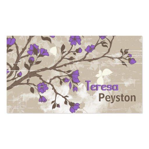 Le pourpre vintage fleurit le taupe grunge floral cartes de visite professionnelles
