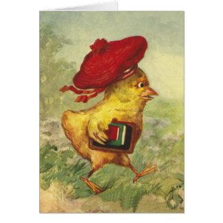 Le poussin dans un béret rouge retourne à l'école cartes de vœux