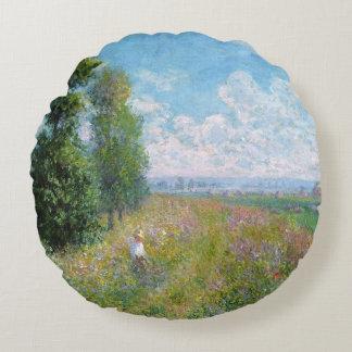 Le pré de Monet avec des peupliers - coussin rond