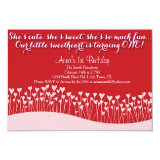 Le premier anniversaire de Valentine Carton D'invitation 8,89 Cm X 12,70 Cm