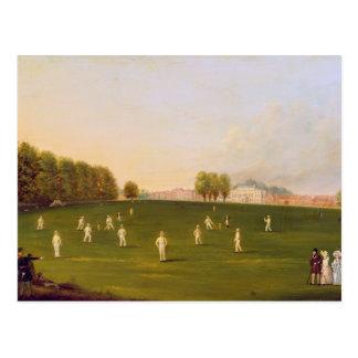 Le premier match grand du cricket a joué par des carte postale