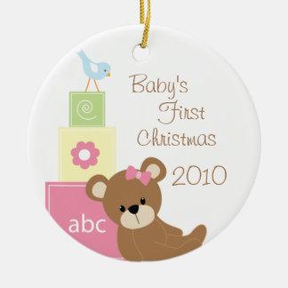Le premier ours de Noël du bébé bloque l'ornement Ornement Rond En Céramique