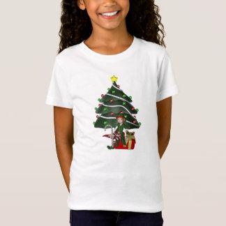 Le présent d'arbre d'Elf de fille de Noël badine T-Shirt