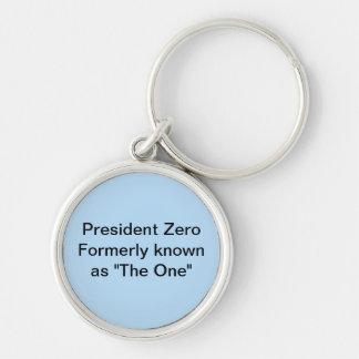 Le Président mettent à zéro autrefois connu en tan Porte-clé Rond Argenté