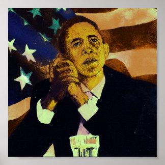 Le Président Obama devant le drapeau américain Posters
