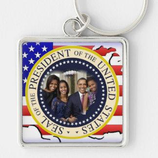 Le Président Obama First Family Keepsake Porte-clé Carré Argenté