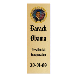 Le Président Obama Inauguration Keepsake Bookmark Carte De Visite Petit Format