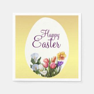 Le printemps floral de Pâques de ressort fleurit Serviette Jetable