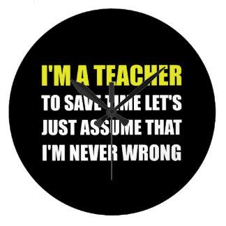 Le professeur épargnent le temps jamais faux grande horloge ronde
