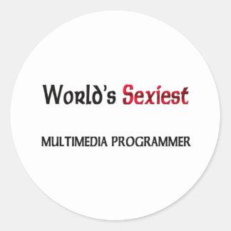 Le programmeur des multimédia le plus sexy du autocollants ronds