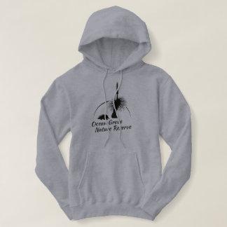 Le pullover à capuchon gris des femmes, logo noir