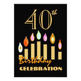 le quarantième ou n'importe quel or d'anniversaire invitations personnalisées