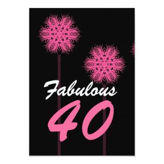 Le quarantième rose fabuleux de fête carton d'invitation  12,7 cm x 17,78 cm